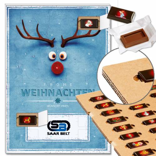"Schoko-Adventskalender ""Red Nose"" mit ECO-Tray"