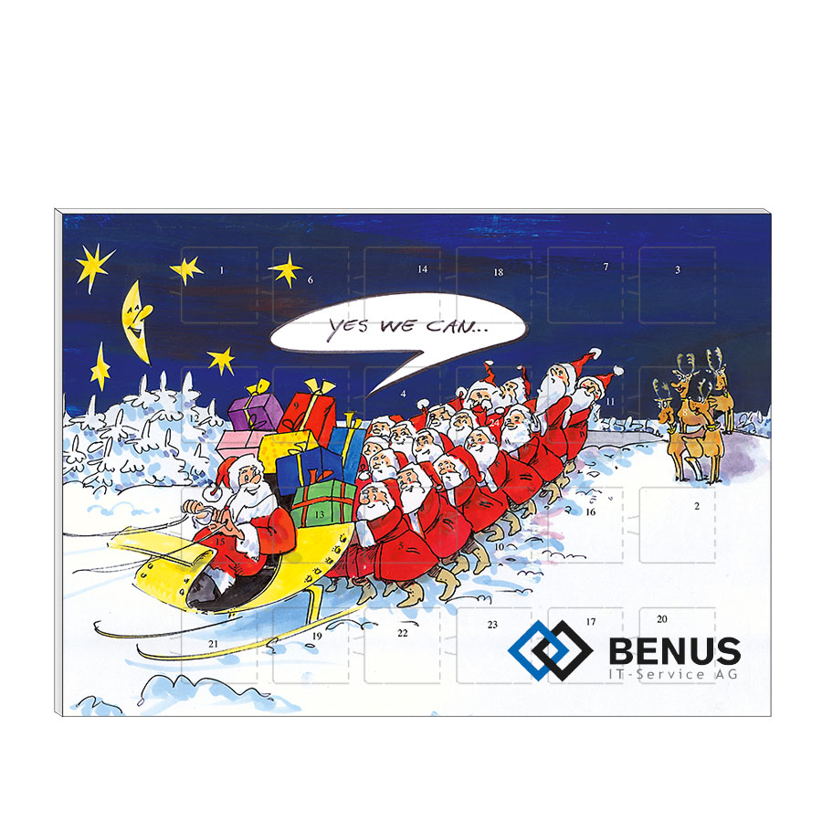 "Schoko-Adventskalender ""Yes we can"" mit Ihrem Logo"